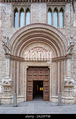 Beautiful architecture in Perugia.The Palazzo dei Priori is one of the most characteristic buildings in the historical center of Perugia,Umbria, Italy - Stock Photo
