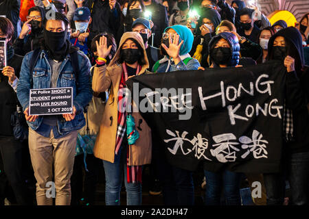 Free Hong Kong student protest, Piccadilly Circus, London, 1st October 2019 - Stock Photo