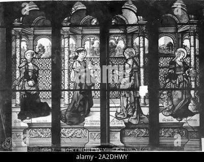 Eglise Saint-Martin - Vitrail baie 2 (partie centrale) Saint Jean sainte Marie-Madeleine sainte Marie-Cleophe et sainte Marthe - Montmorency - Médiathèque de l'architecture et du patrimoine - - Stock Photo