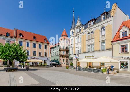Pszczyna (ger.: Pless), Silesian province, Poland. The Marketplace - Stock Photo