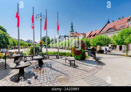Pszczyna (ger.: Pless), Silesian province, Poland. Fountain on the Marketplace square. - Stock Photo
