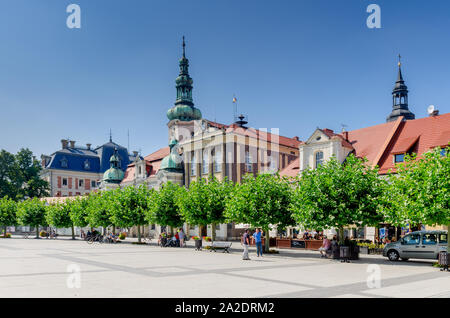 Pszczyna (ger.: Pless), Silesian province, Poland. The Marketplace, view on the Pless castle, Lutheran church spire and the town hall. - Stock Photo