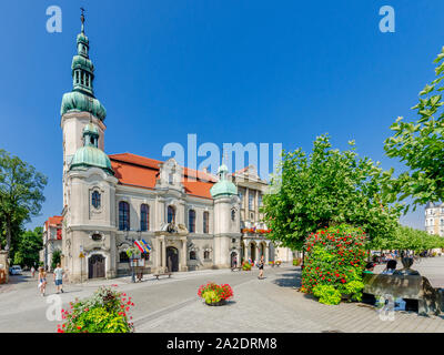 Pszczyna (ger.: Pless), Silesian province, Poland. Lutheran church, the city hall; Marketplace square. - Stock Photo