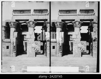 Egyptian views; Kom-Ombo. Great hypostyle hall of Temple of Sobk and Horoeris - Stock Photo