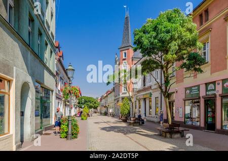 Pszczyna (ger.: Pless), Silesian province, Poland. Piastowska street, old town district. - Stock Photo