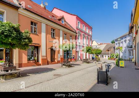 Pszczyna (ger.: Pless) Silesian province, Poland. Piastowska street, old town district. - Stock Photo