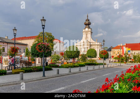Wadowice, Lesser Poland province. Birthplace of Karol Wojtyla, pope John Paul II, Minor Basilica of the Presentation of the B - Stock Photo
