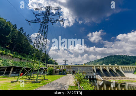 Miedzybrodzie Bialskie, Silesian province, Poland. Porabka dam and hydroelectric power station on Sola river. Beskid Maly mountains. - Stock Photo