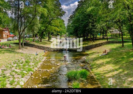 Porąbka, Silesian province, Poland. Recreation area on a creek. Beskid Maly mountains. - Stock Photo