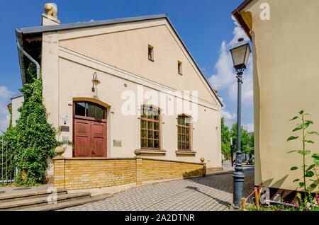 Oswiecim (ger.: Auschwitz), Lesser Poland province.  The synagogue  on ks.J. Skarbek square. - Stock Photo
