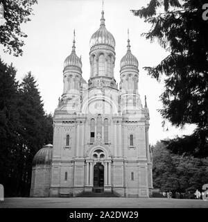 Die russisch orthodoxe Kirche auf dem Neroberg im Norden von Wiesbaden, Deutschland 1930er Jahre. Russian orthodox church at the Neroberg hill in the North of Wiesbaden, Germany 1930s. - Stock Photo
