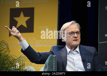 September 28, 2019, Austin, Texas, USA: MSNBC political commentator Lawrence O'Donnell gstures while interviewing U.S. Sen. Michael Bennet of Colorado Sen.  during a Texas Tribune Festival session on Saturday. Bennet is far down in Democratic polling but remains in the primary race. (Credit Image: © Bob Daemmrich/ZUMA Wire) - Stock Photo