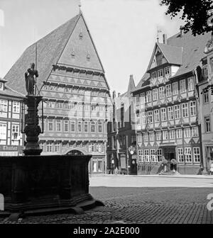 Das Knochhaueramtshaus in Hannover, Deutschland 1930er Jahre. The Butchers' Guild Hall at Hanover, Germany 1930s. - Stock Photo
