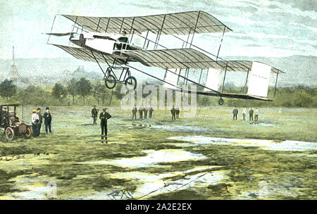 HENRI FARMAN (1874-1958) Anglo-French aviator on one of his record breaking flights - Stock Photo