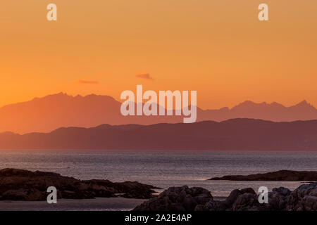view of sunset over mull island, scotland - Stock Photo