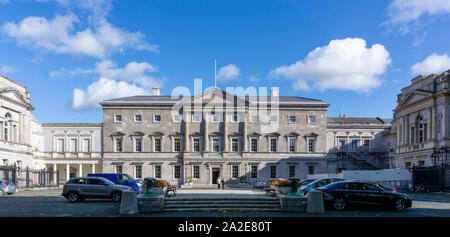 Leinster House, Kildare Street, the  seat of the Oireachtas, the parliament of Ireland., - Stock Photo