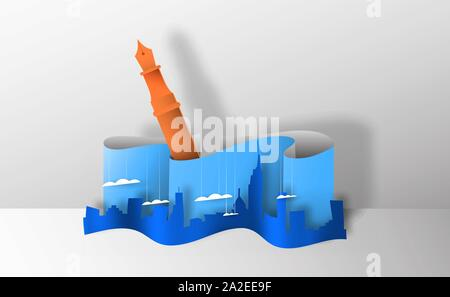Realistic papercut city landscape with writing pen. 3D paper cutout skyline for creative architecture concept or real estate project. - Stock Photo