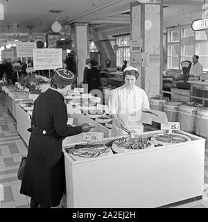 Die Fischabteilung in einem großen Lebensmittelgeschäft bietet Salzheringe an, eine Kundin wird an der Frischetheke bedient, Deutschland 1930er Jahre. The fish department at a grocery offering salted herrings, a woman is served by a shop assistant, Germany 1930s. - Stock Photo