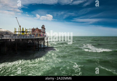 The fairground at the end of Brighton Palace Pier,opened in 1899 and  commonly known as Brighton Pier or  Palace Pier in Brighton, Sussex, England.