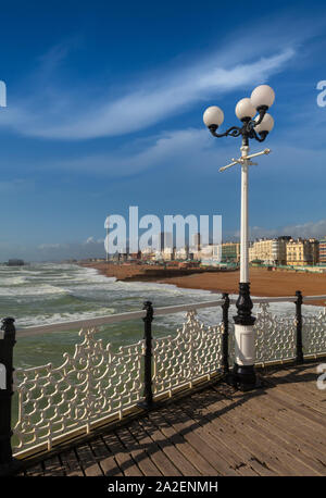 Views of the beach from Brighton Palace Pier, commonly known as Brighton Pier or the Palace Pier in Brighton, Sussex, England. Opened in 1899, it was