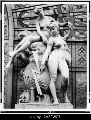 Electricity sculpture by Louis-Ernest Barrias located at the entrance to the Gallery of Machines, Paris Exposition, 1889 - Stock Photo