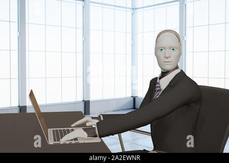 automation 3d rendering artificial intelligent humanoid business working with notebook computer in office concept - Stock Photo