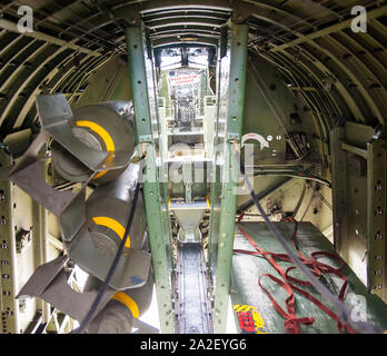 Interior of Collings Foundation's B-17G Flying Fortress, Nine-O-Nine, at Worcester Regional Airport for Wings of Freedom event. - Stock Photo