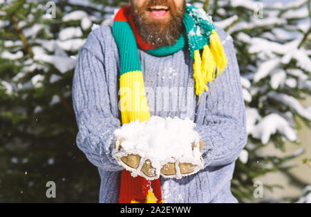 Young man in the snow forest landscape on holiday holding natural soft white snow in his hands to make a snowball, smiling during a cold winter day in - Stock Photo