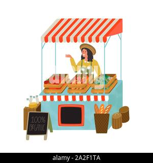Farmers market stall with happy farmer woman worker selling organic vegetables and food. Modern flat cartoon illustration on isolated background. - Stock Photo