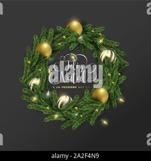 Merry Christmas Happy New Year greeting card illustration of 3d holiday wreath with gold bauble ornaments and lights in portuguese language. Festive x - Stock Photo