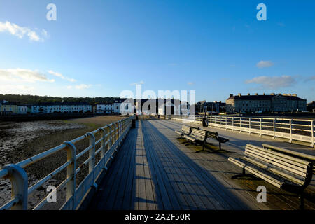 View from on Beaumaris Pier Anglesea looking landward toward the town - Stock Photo