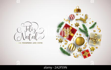 Merry Christmas Happy New Year portuguese language greeting card of 3d holiday decoration in bauble shape. Realistic luxury xmas ornament layout inclu - Stock Photo