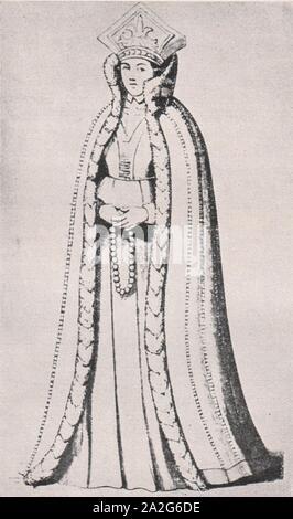 Emil Brass, Im Reiche der Pelze, 2. Auflage, 1925, Seite 174, Livländische junge Edeldame aus dem Jahre 1590 mit hochstehendem, pelzbesetztem Kragen und Mantel. - Stock Photo