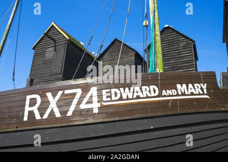 Old Fishing Boat, Edward and Mary, on display on Hastings Old Town Stade, open air Maritime Museum Heritage Quarter, Rock-a-Nore, East Sussex, UK - Stock Photo