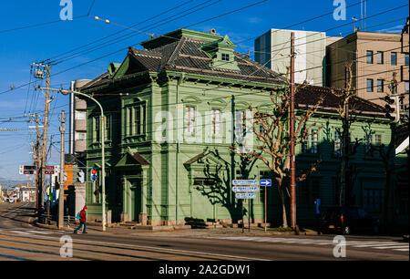 DEC 2, 2018 Hakodate, JAPAN - Hakodate Hokkaido Vintage green historic European style building in old town under beautiful winter sun