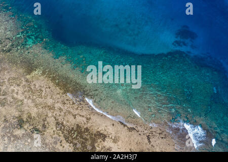 Aerial view taken with a drone of coastal area near Cloud 9 surf area,Siargao,Philippines - Stock Photo