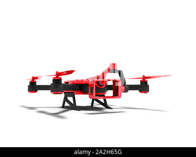 Modern red quadrocopter with black inserts for smartphone with insertion of camera camera 3D render on white background with shadow - Stock Photo