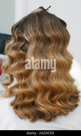 Long healthy hair in the hairdresser's salon - Stock Photo