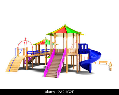 Modern complex wooden playground for children with slides and cable cars 3d render on white background with shadow - Stock Photo