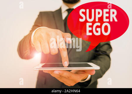 Word writing text Super Ego. Business photo showcasing The I or self of any demonstrating that is empowering his whole soul - Stock Photo