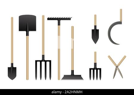 Garden tools collection. Vector illustration. Set of agriculture equipment. - Stock Photo