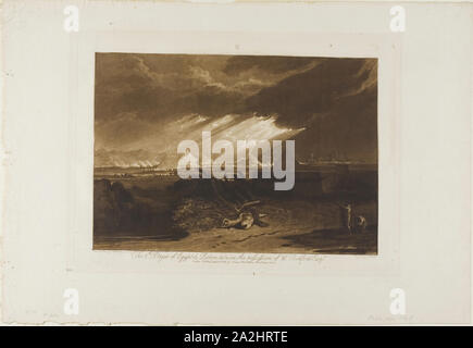 The Fifth Plague of Egypt, plate 16 from Liber Studiorum, published June 10, 1808, Joseph Mallord William Turner (English, 1775-1851), Engraved by Charles Turner (English, 1773-1857), England, Mezzotint and etching in brown on ivory wove paper, 180 × 258 mm (image), 207.5 × 288 mm (plate), 292 × 425.5 mm (sheet - Stock Photo