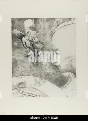 The Celestial Art, 1894, Odilon Redon, French, 1840-1916, France, Lithograph in black on off-white China paper laid down on ivory wove paper, 315 × 257 mm (image/chine), 452 × 349 mm (sheet - Stock Photo