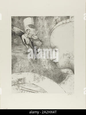 The Celestial Art, 1894, Odilon Redon, French, 1840-1916, France, Lithograph in black on off-white China paper laid down on ivory wove paper, 316 × 256 mm (image/chine), 453 × 349 mm (sheet - Stock Photo