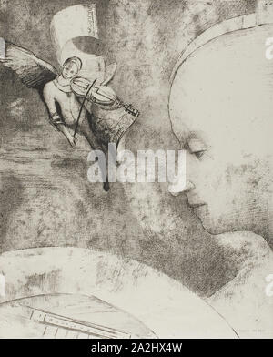 The Celestial Art, 1894, Odilon Redon, French, 1840-1916, France, Lithograph in black on off-white loose chine, 316 × 258 mm - Stock Photo