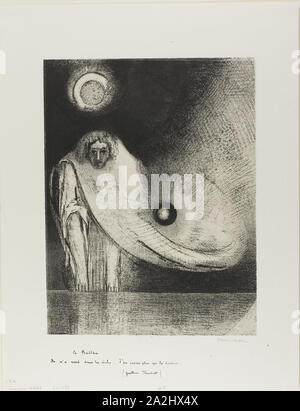 The Buddha, 1895, Odilon Redon, French, 1840-1916, France, Lithograph in black on ivory China paper laid down on ivory wove paper, 325 × 245 mm (image), 452 × 348 mm (sheet - Stock Photo