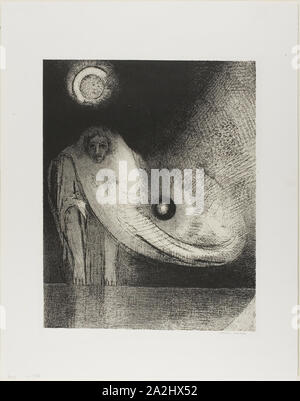 The Buddha, 1895, Odilon Redon, French, 1840-1916, France, Lithograph in black on cream China paper laid down on ivory wove paper, 315 × 250 mm (image), 330 × 261 mm (stone), 441 × 348 mm (sheet - Stock Photo