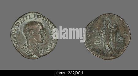 Sestertius (Coin) Portraying King Philip II, AD 244/246, Roman, minted in Rome, Roman Empire, Bronze, Diam. 2.8 cm, 15.13 g - Stock Photo