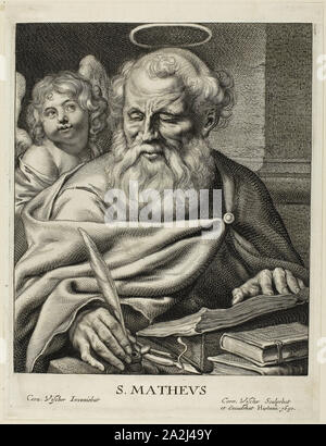 Saint Matthew, n.d., Cornelis Visscher, Dutch, c. 1629-1658, Holland, Engraving on ivory paper, 260.35 x 196.85 mm - Stock Photo