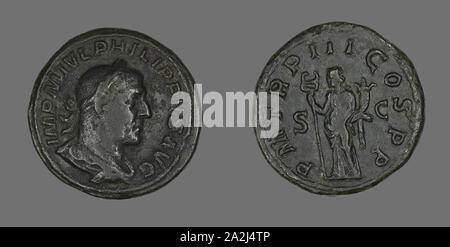 Sestertius (Coin) Portraying King Philip I, AD 246, Roman, Rome, Bronze, Diam. 3.1 cm, 24.19 g - Stock Photo
